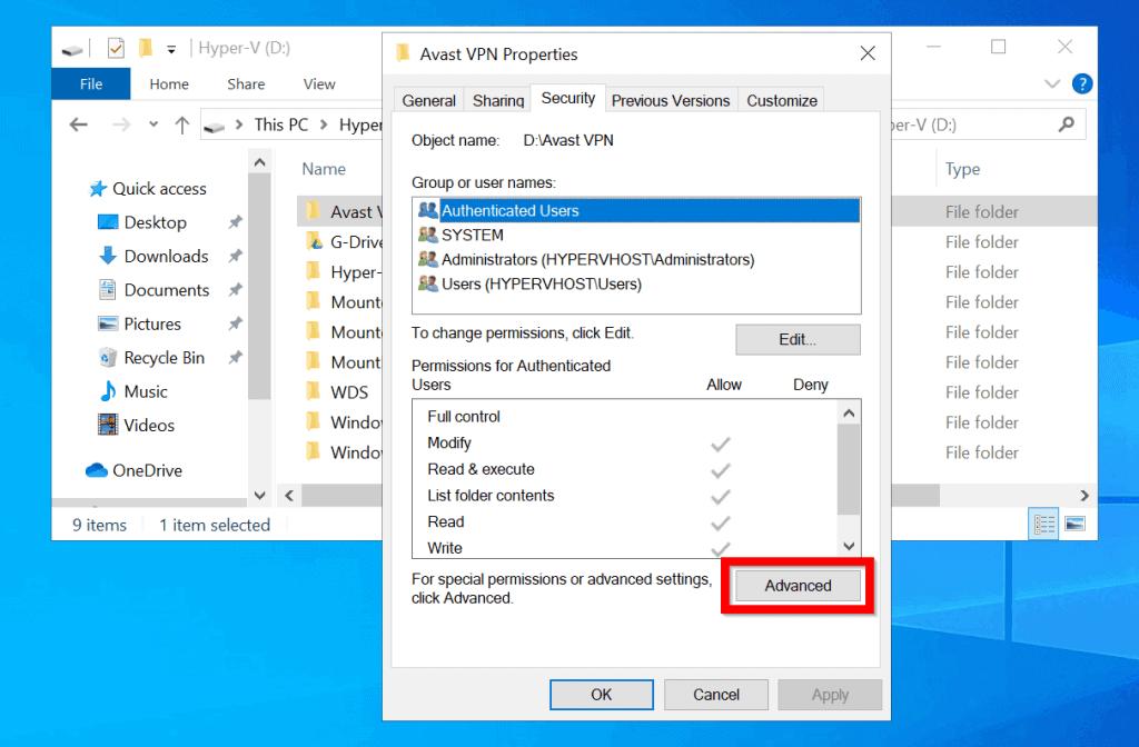 take ownership of folder windows 10