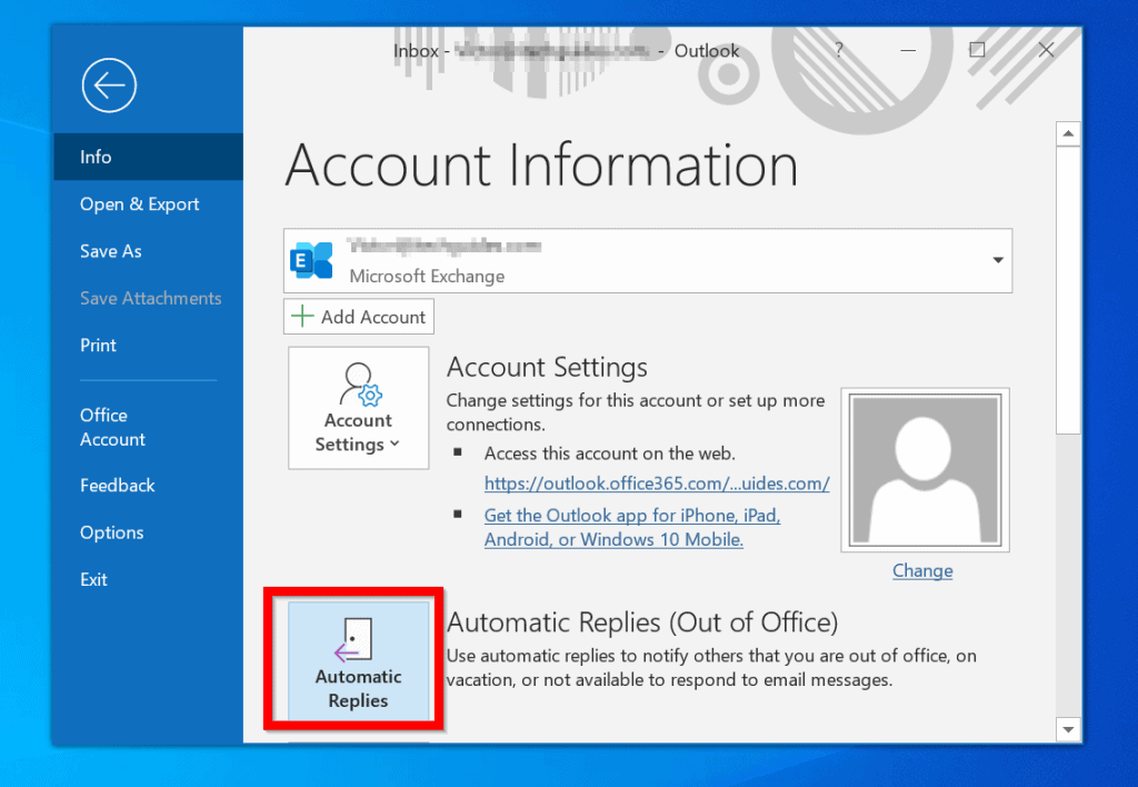 Set Out of Office Auto Reply in Outlook