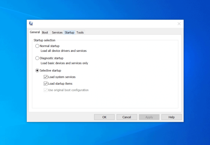 enable clean boot windows 10