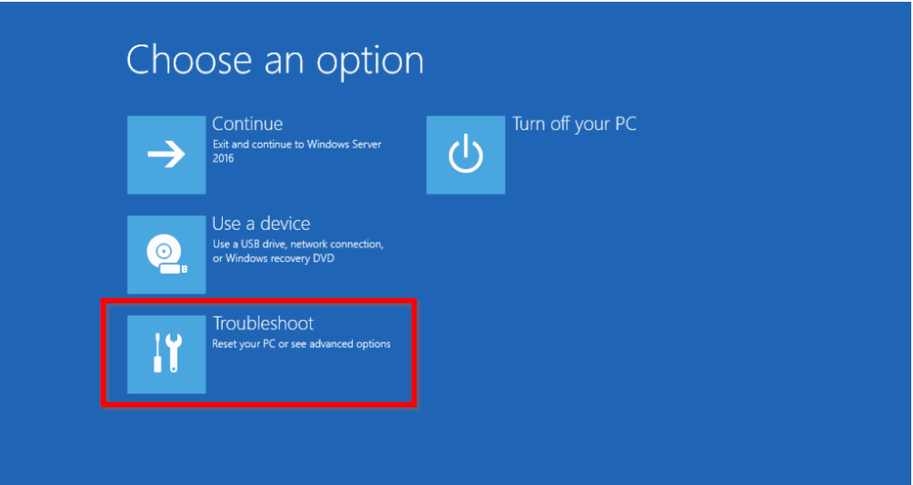 your pc ran into a problem and needs to restart windows server 2016