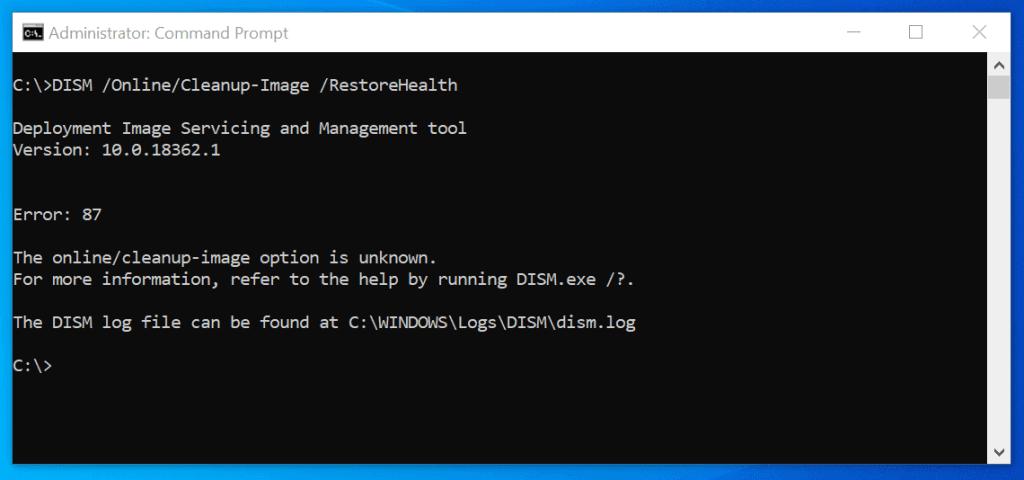 dism error 87 server 2016