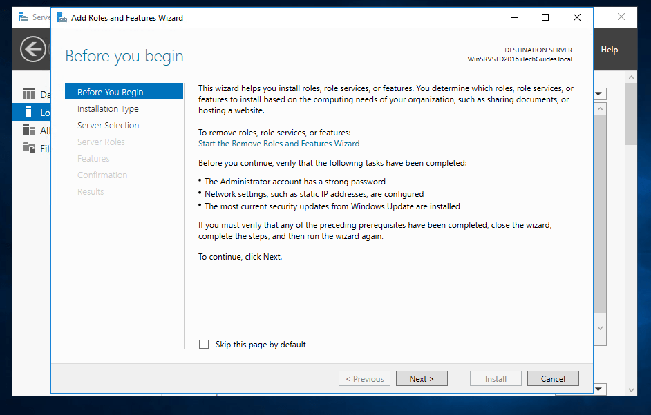 Steps to Install Active Directory in Server 2016