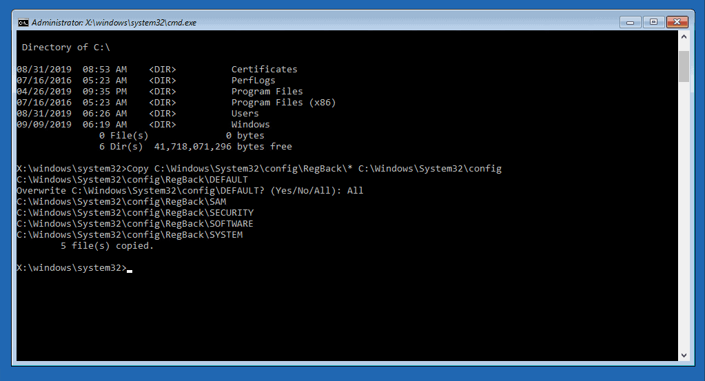 Restore Registry from Backup - Windows Server 2017