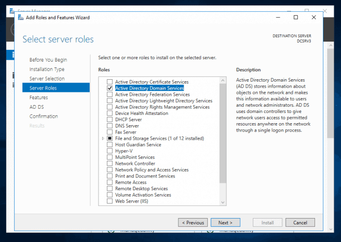 Install Active Directory Role in Server 2016 and Promote to DC