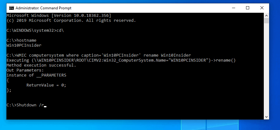 Rename a Windows 10 PC with Command Line