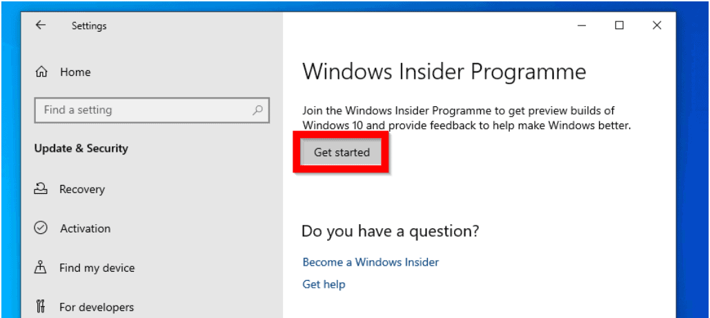 Steps to Install Windows 10 1909 Preview - Join the Windows Insider Program
