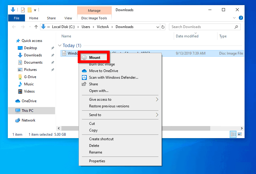 Mount windows 10 1909 ISO