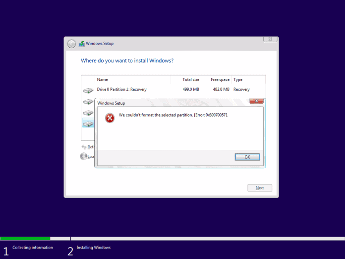 We Couldn't Format the Selected Partition: [Error