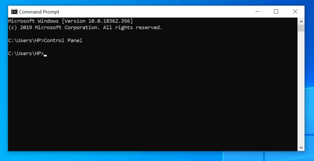 Open control panel windows 10 from command prompt