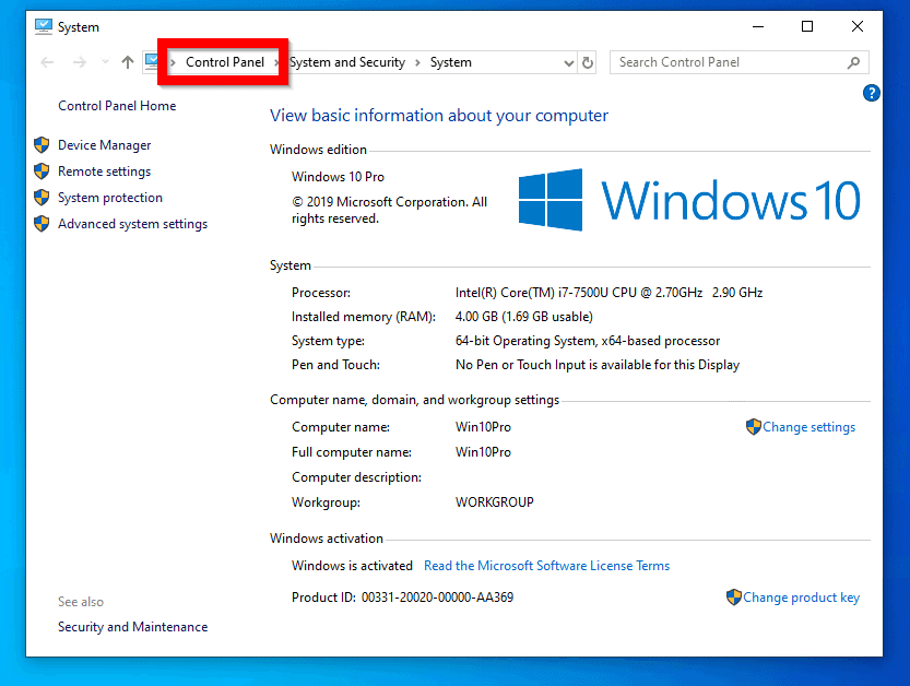 control panel windows 10 from File Explorer, System Properties