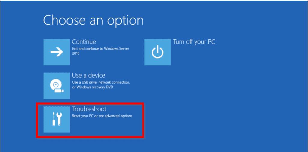windows server 2016 won't boot after update