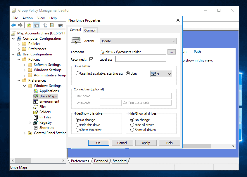 Configure Map Network Drive with Group Policy