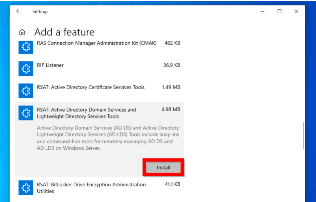 Install RSAT for Active Directory in Windows 10 with Manage Optional Features