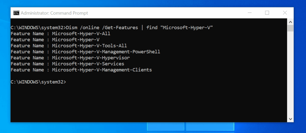 Enable Hyper-V in Windows 10 with DISM /Enable-Feature Command