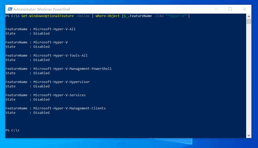 Enable Hyper-V with PowerShell Enable-WindowsOptionalFeature Cmdlet