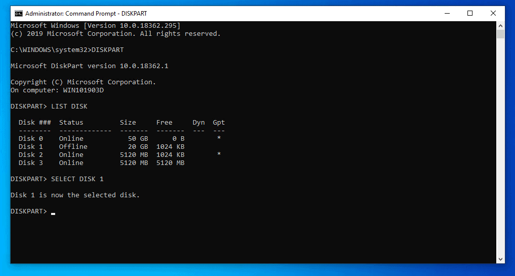 Format New Hard Drive in Windows 10 with DISKPART Command