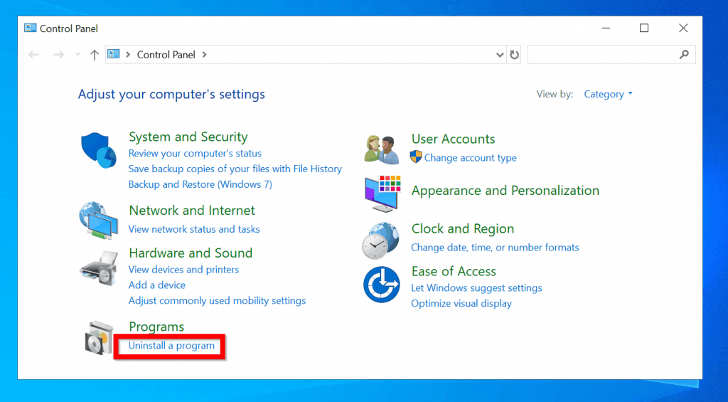 Check Windows 10 Update History from Control Panel