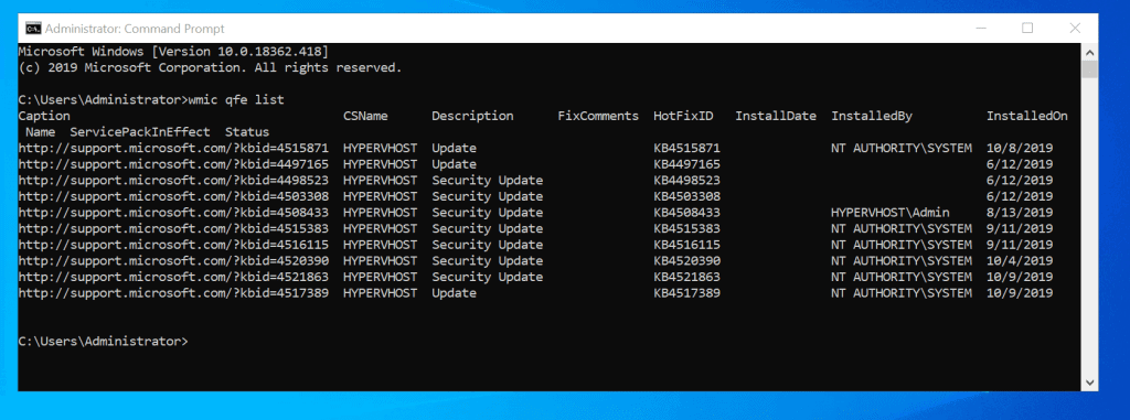 List Installed Windows 10 Updates With Command Prompt