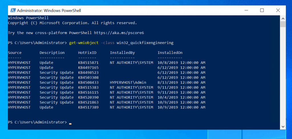 List Installed Windows 10 Updates With PowerShell