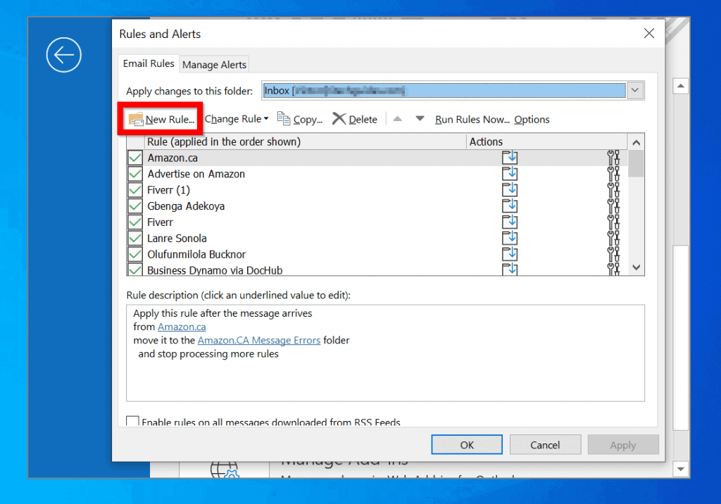 Create an Outlook Auto Reply Rule