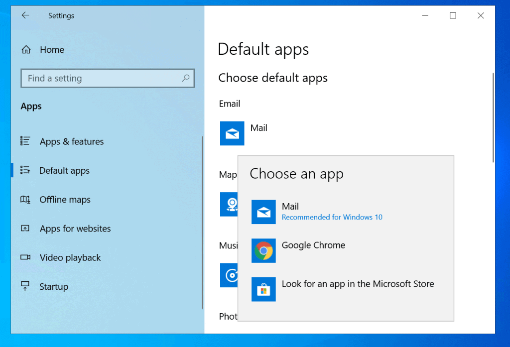 Set Default Programs in Windows 10 From Default Apps Settings