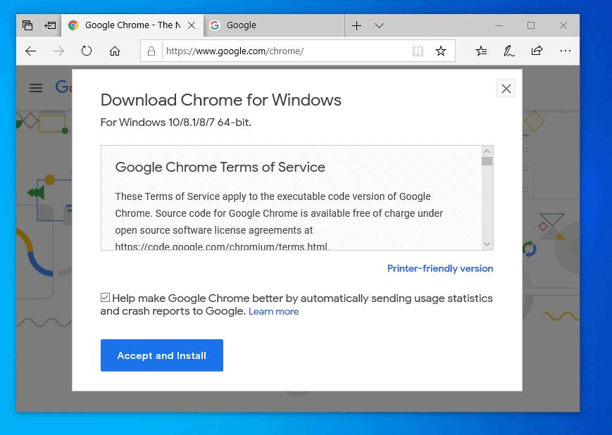 Install Google Chrome in Windows 10 with Chrome Installer.