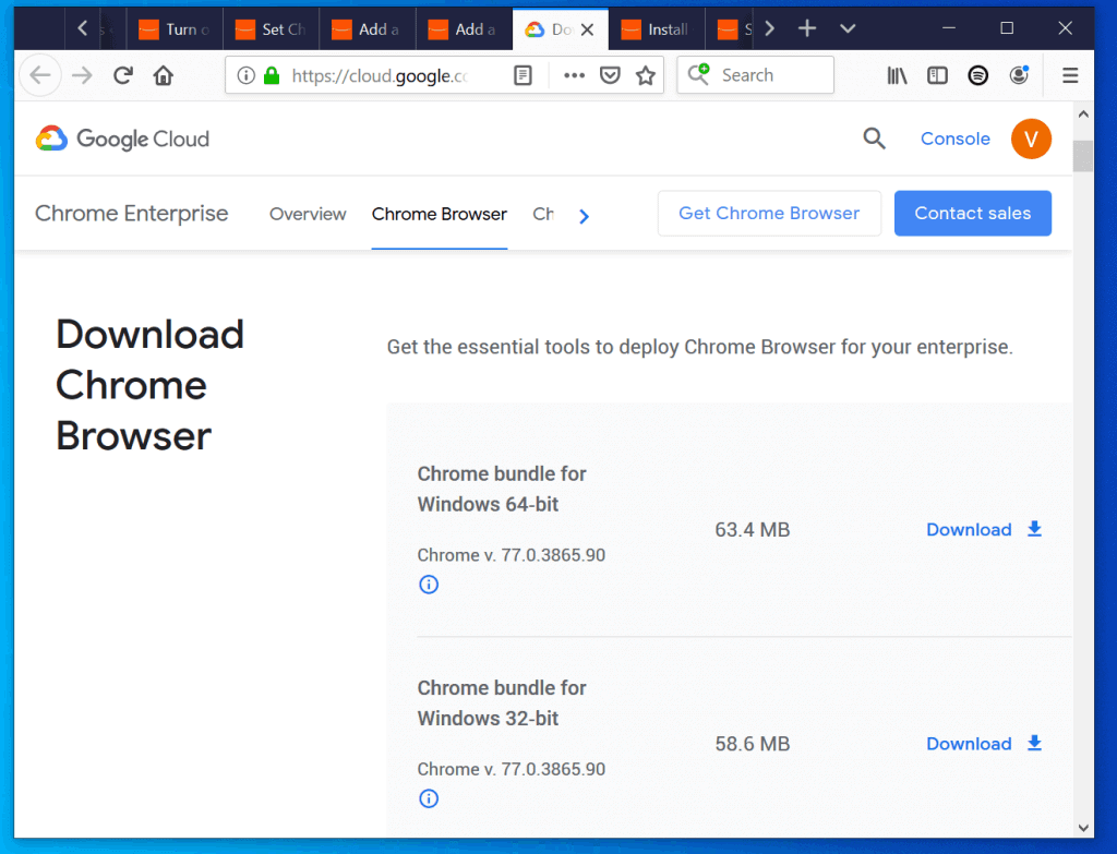 Install Google Chrome in Windows 10 with Group Policy