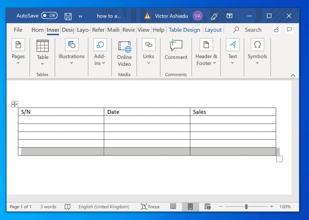 how to add more rows to a table in word