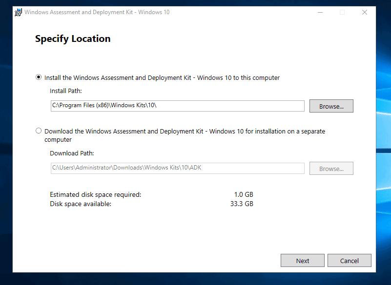 Install Windows ADK for Windows 10