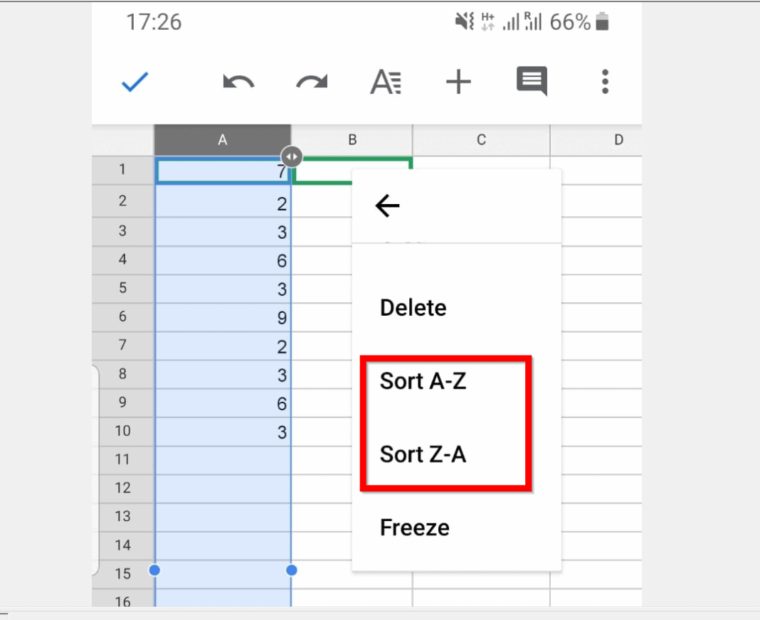 How to Sort in Google Sheets (from Android App)