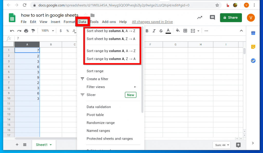 How to Sort in Google Sheets (from a PC)