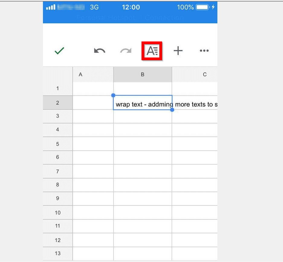 How to Wrap Text in Google Sheets from the iPhone/iPad App