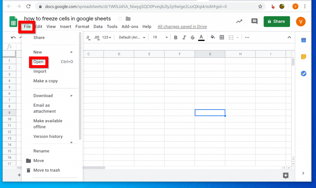 How to Freeze Cells in Google Sheets from a PC/Mac