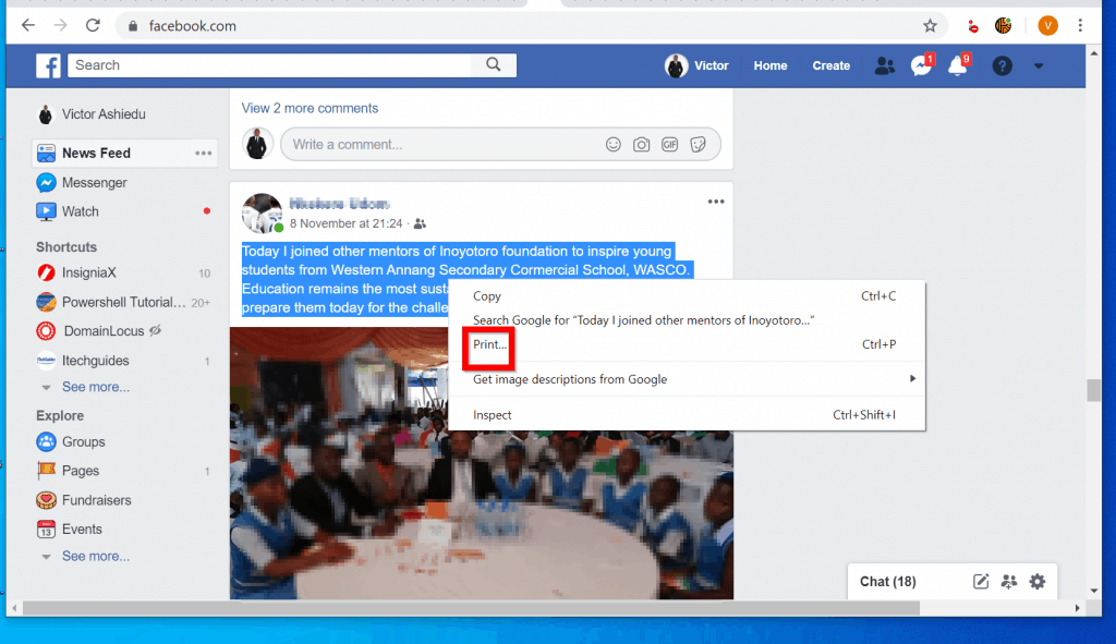 How to Print Facebook Messages from within Facebook
