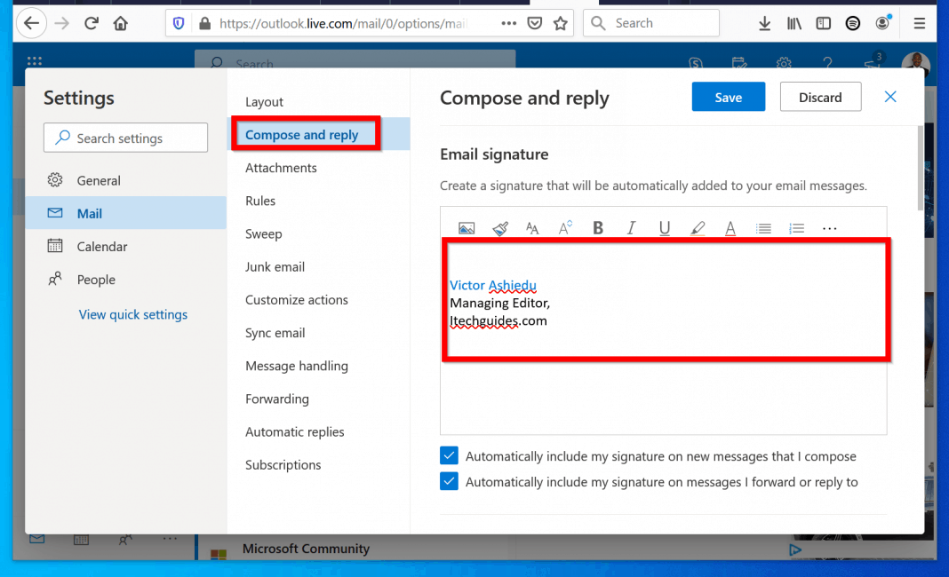 How to Change Email Signature in Outlook.com