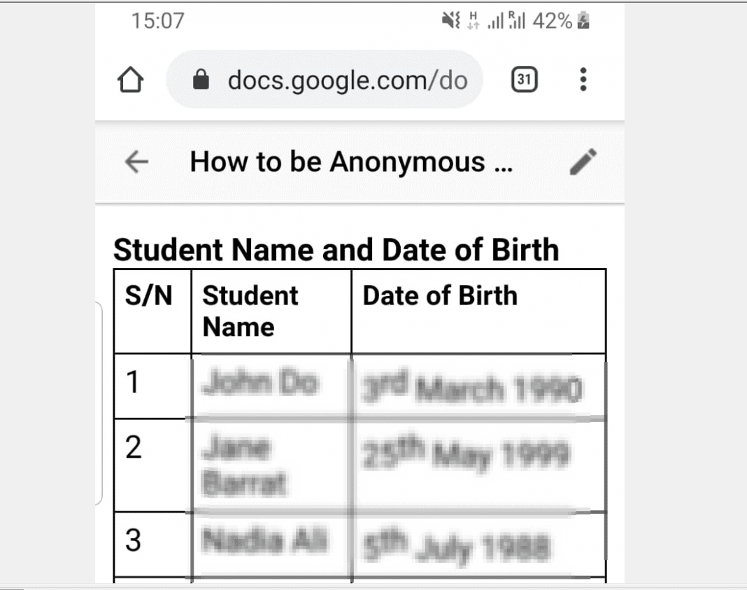 How to be Anonymous on Google Docs from the App