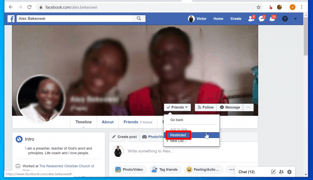 How to Restrict Someone on Facebook from a PC