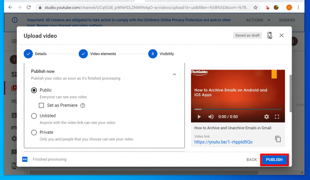 Upload the PowerPoint Video to YouTube