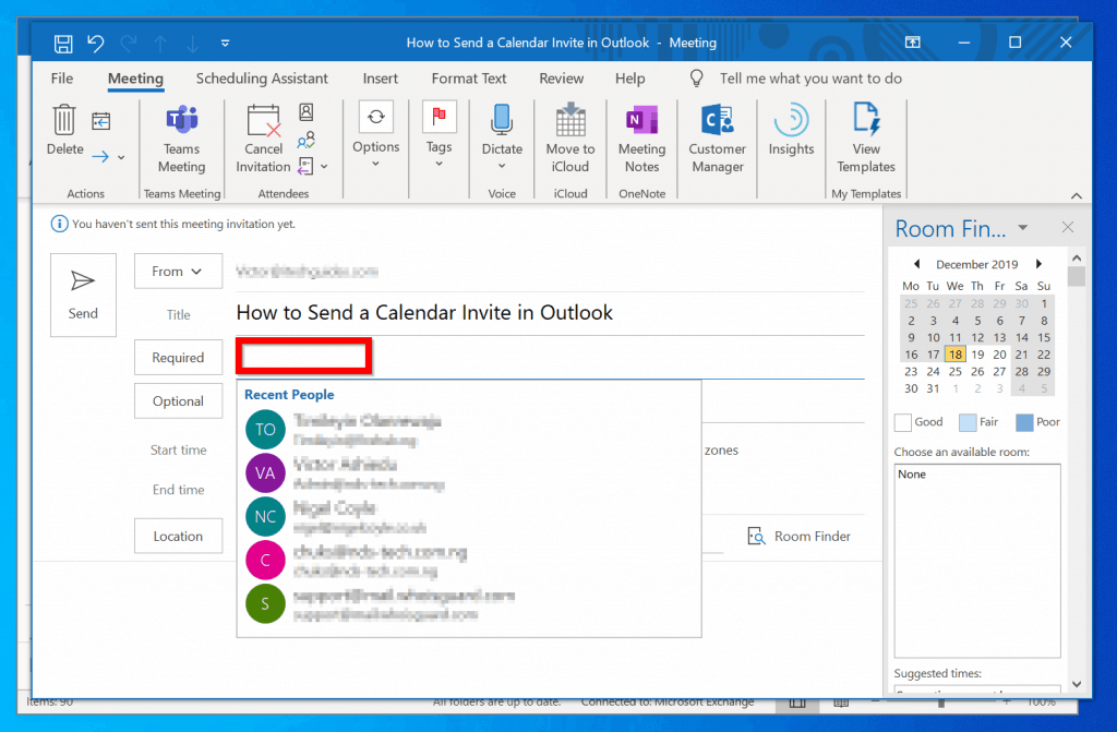 How to Send a Calendar Invite in Outlook from Windows 10
