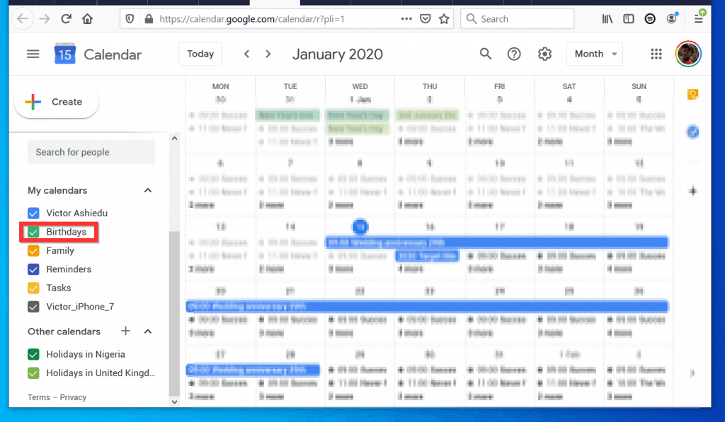 "How to Add Birthdays to Google Calendar from a PC - Ensure that ""Birthday"" is Enabled in Google Calendar"