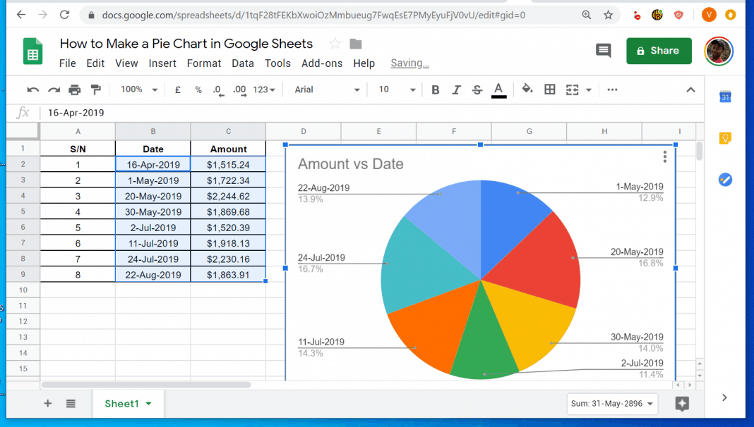 How to Make a Pie Chart in Google Sheets from a PC