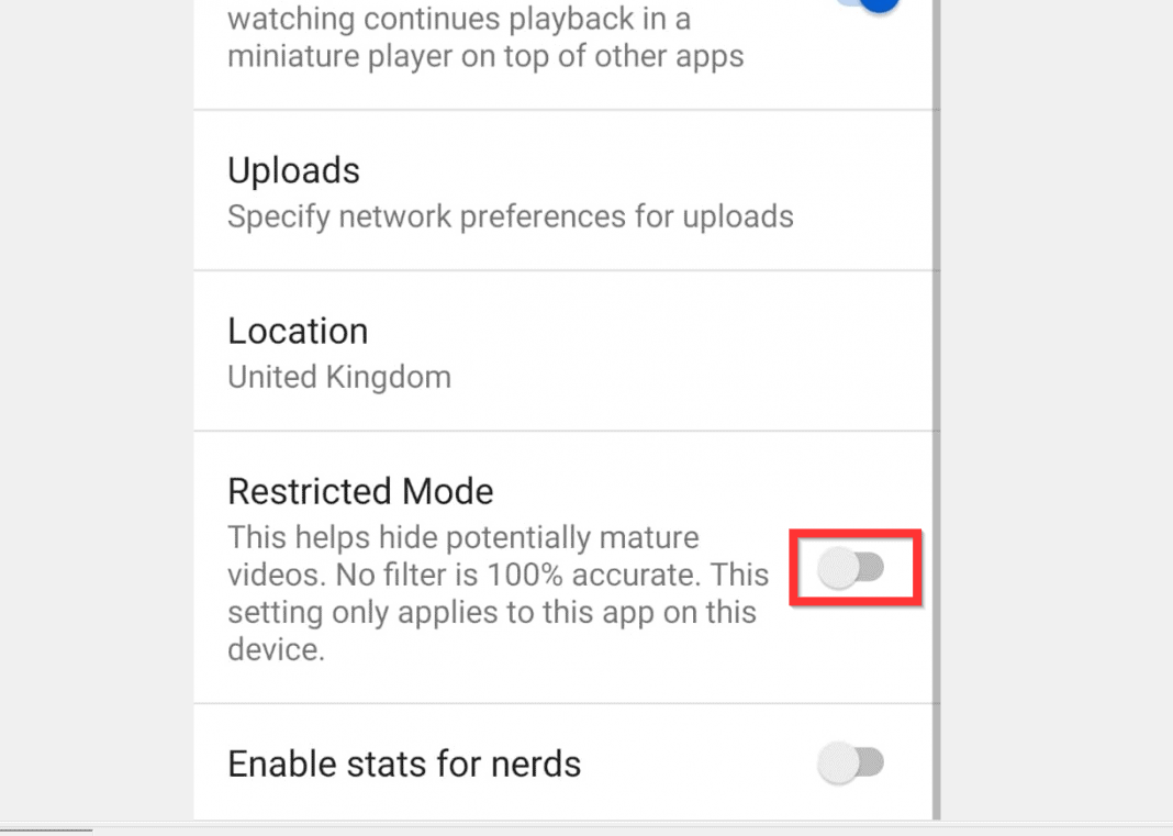 How to Turn off Restricted Mode on YouTube on Android