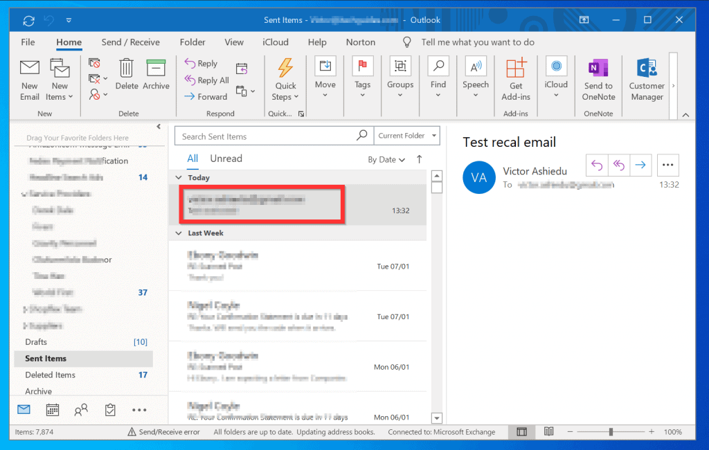 How to Recall an Email in Outlook