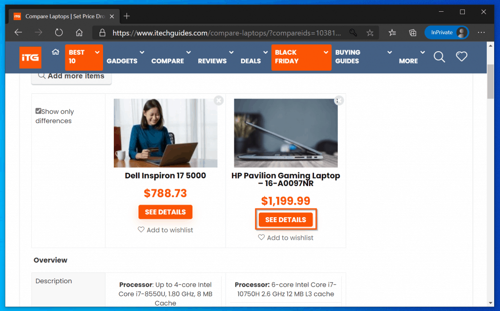 Laptop Comparison
